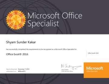 MOS Excel Certificate-1